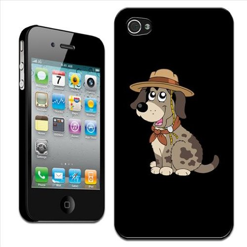 Fancy A Snuggle hond met hoed op archaire expeditie harde schaal/harde kaft achterkant voor Apple iPhone 4 / 4S, kan worden geplaatst