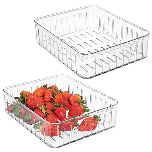 mDesign 2er-Set große Kühlschrankbox – praktischer Vorratsbehälter ohne Deckel – Frischhaltedose mit Seitenöffnungen – durchsichtig