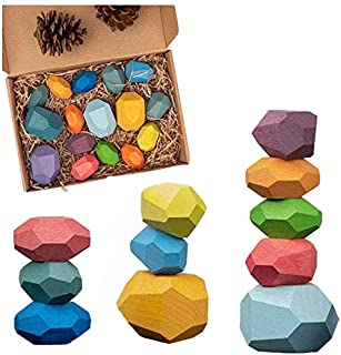 HOWADE 16 PCS Balancing Building Wooden Blocks Stacking Stones Sets Lightweight Pine Wood Girl Boy Colorful Shape Puzzle E...