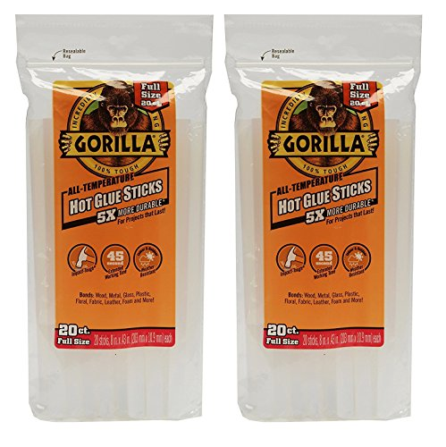 "Gorilla 3032016 Hot Glue Sticks 8"" Full Size (20 Count), Clear (2 PACK)"