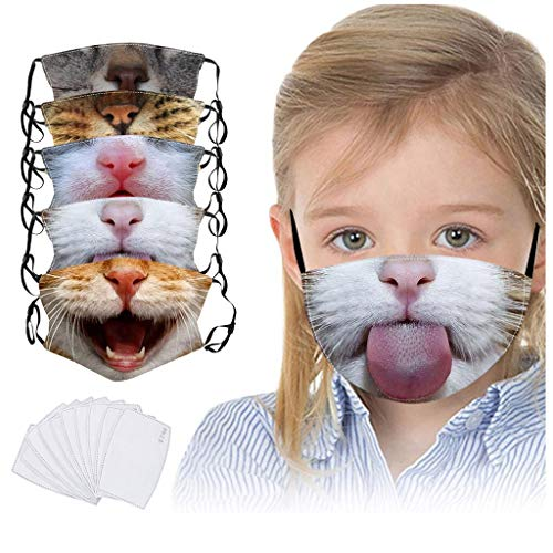 5 Pack Reusable Cotton Coverings Kids Cute Cat Print Face_Mask Washable Mouth Cloth Anti-Dust Bandana for Children