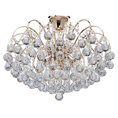MW-Light 232016708 Modern Ceiling Lighting Crystal Chandelier Baroqque in Gold for Living Room, Bedroom 8 Lights E14 x 60W excl