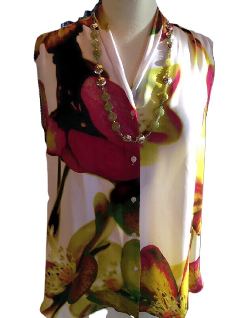 Custom Couture XL pink green floral white and sleeveless Popular brand in the world 2021new shipping free blouse