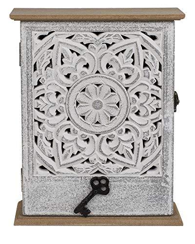 ootb Holz-Schlüsselkasten mit Tür, weißes Blumendekor, 20x26,5cm