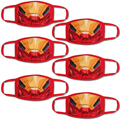 Concept One Marvel Iron Man Kids Face Mask, Red, Pack of 6