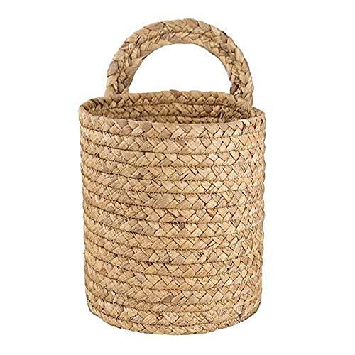 Cesta de mimbre para colgar en la pared, maceta para interior y exterior, cuerda para colgar, decoración de la cesta de la maceta, cesta colgante para maceta