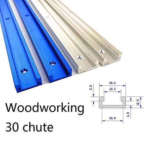 Binario con scanalatura a T tipo 30, maschera in alluminio per lavorazione del legno fai da te, adatte per fresatrice, blu