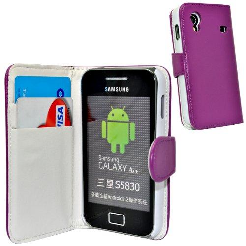 Accessory Master Elegantes Leder Wallet Book Style Tasche für Samsung Galaxy Ace S5830 lila