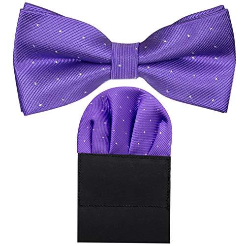GASSANI GASSANI 2Tlg Fliegenset, Festliche Violette Herren-Fliege Silber Gepunktet, Hochzeitsfliege Anzug-Schleife Vor-Gebunden Ein-Stecktuch Vorgefaltet