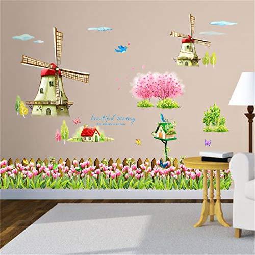 Tapete-Aufkleber-holländische Windmühle Tulip Flowers ästhetische Wohnzimmer-Wand-Dekoration frische ländliche Tretlinie