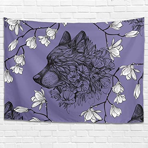 Tapiz de pared con diseño de flores de lobo para colgar en la pared, decoración de la pared para dormitorio, sala de estar como manta de playa, colcha blanca 100 x 150 cm