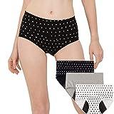INNERSY Culotte Menstruelle Flux Abondant Slip Anti Fuite sous-vêtement Post Cesarienne Lot de 3 (Small, Noir/Blanc/Gris)