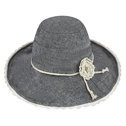 YSXY Faltbar Sonnenhut für Damen Mädchen mit Kinnband Fischerhut Sonnenschutz Strandhut Anti-UV Streifen Hüte Hut Kappe aus Baumwolle,Kaffee