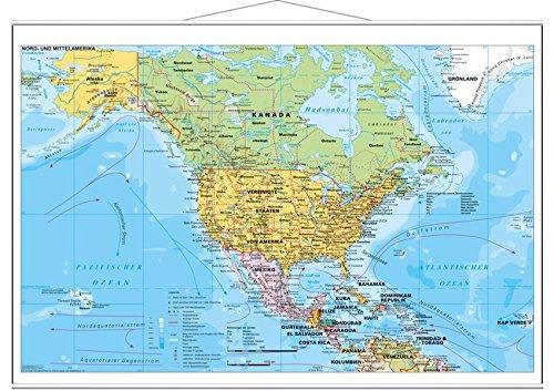 Nord- und Mittelamerika politisch - Wandkarte mit Metallbeleistung