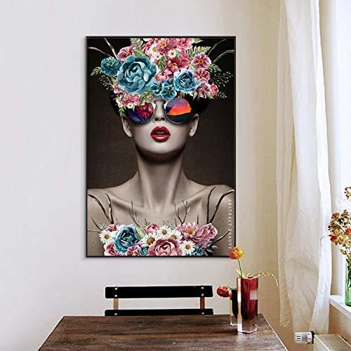 KWzEQ Retrato Abstracto Cartel Mural sobre Lienzo Arte Flor Mujer decoración del hogar,Pintura sin Marco,75x112cm