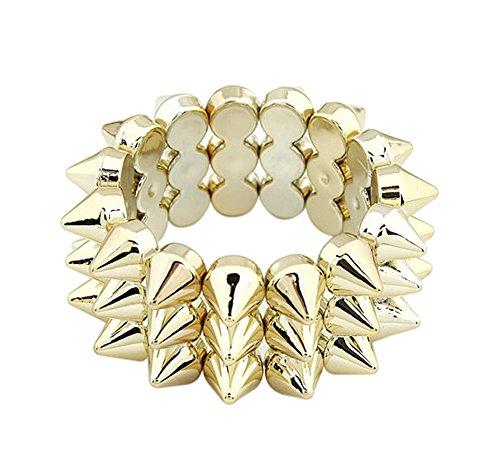 Demarkt Nieten Armband Armreifen Spitznieten Modeschmuck Armkett Spike Stacheln Nieten Statement Kette Punk Gothic in Gold (Gold)