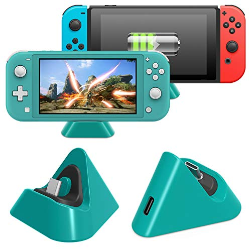 Charging Dock for Nintendo Switch Lite and Nintendo Switch, Compact Charging Stand Station with Type C Port Compatible with Nintendo Switch Lite 2019 (Green)
