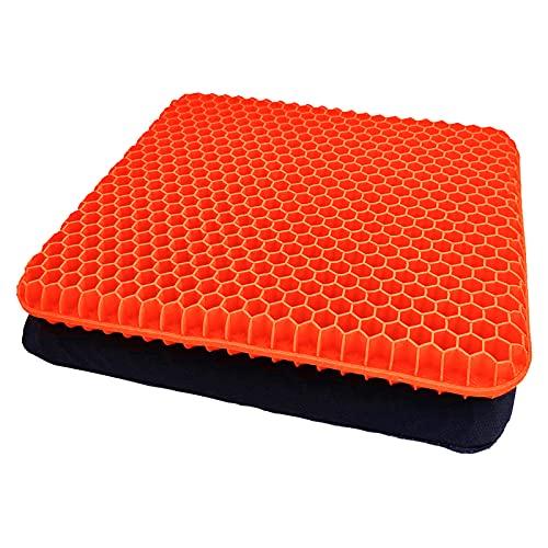 Gel Sitzkissen Orthopädisch Gelkissen Stuhlkissen mit Rutschfesten Bezug Atmungsaktiv Honigwaben Konstruktion Sitzkissen für Stuhl, Bürostuhl, Auto, Rollstuhl (Orange)