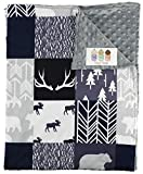 """Top Tots """"Woodland Animals Collection"""" Minky Baby Blanket, Moose, Bear, Trees and Arrows, Navy, Black and Gray, 29 Inches by 39 Inches"""