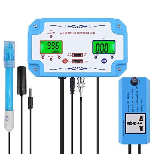 YWJT Medidor probador de pH/EC/Temp en línea Detector de Calidad del Agua Controlador de pH Enchufe de relé Electrodo reemplazable Sonda Tipo BNC EE. UU. UE Enchufe-US_Plug_220V