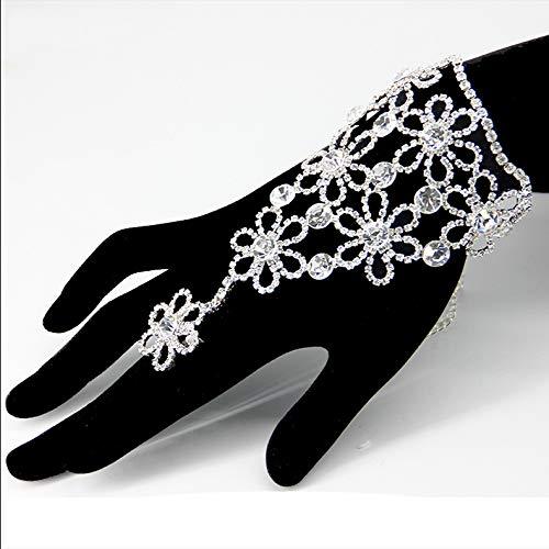 miaoyu Pulsera de dedo con cristales esclavos para mujeres y niñas, arnés de mano, brazaletes de eslabones, cadena de compromiso, regalos de fiesta de boda (color metálico: oro)