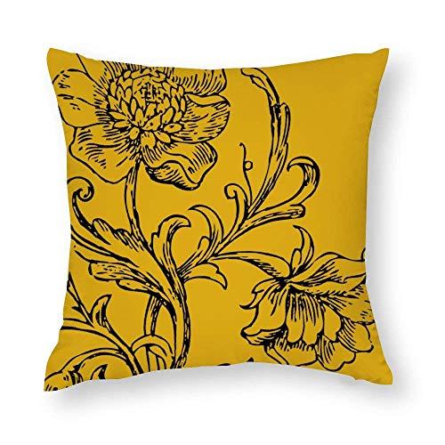 WH-CLA Funda de almohada de color amarillo mostaza con cremallera floral para sofá, decoración del hogar, colorida funda de almohada impresa para el hogar, oficina, acogedora, 45 x 45 cm