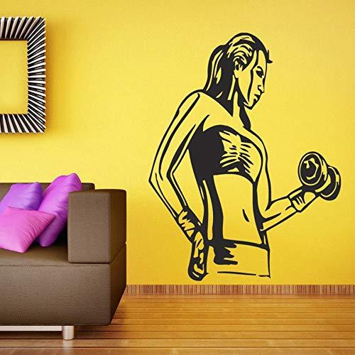 Fitness girl pegatinas de pared sala de estar dormitorio decoración del hogar ejercicio deportes fitness vinilo pegatinas de pared bodybuilding mural