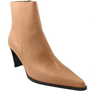 DA'VINCI 4064 Women's Italian Dressy Pointy Toe Low Heel Leather Boot, Beige Size 38