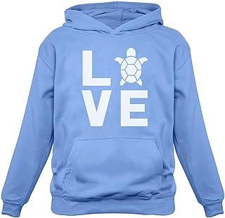I Love Turtles Sweatshirt Animal Lover Turtle Print Cute Women`s Hoodie