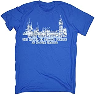 123t Slogans Men's NEVER UNDERESTIMATE THE POWER OF STUPID PEOPLE IN LARGE GROUPS (XL - ROYAL BLUE) LOOSE FIT T-SHIRT