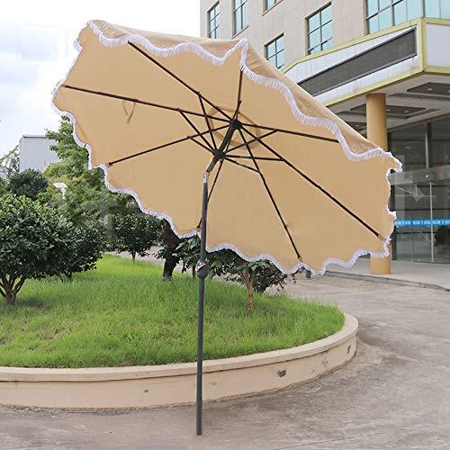 Parasol LWMQ Terrassenschirm Quaste Sonnenschirm 270cm / Kippbar/Handkurbel/Café Freizeit Gartencenter Säule Balkon Dekoration Regenschirm