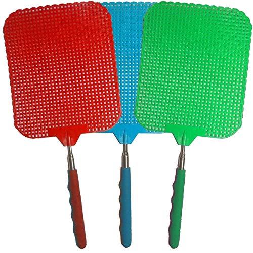 marion10020 Fliegenklatsche Fliegen-Klatsche Klatsche XXL, ausziehbar von 34 cm bis 76 cm, Schlagfläche 19 x 16 cm, bunt gemischt, 3er-Set