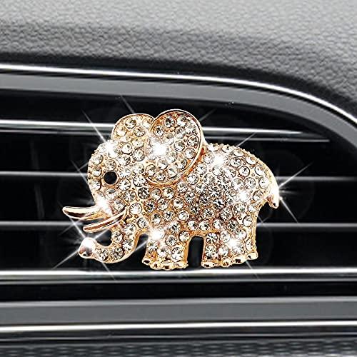 AEEIX Auto Diamond Elephant Car Air Conditioning Outlet Clip Decorative Car Air Vent Clip Charm, Bling Car Accessories, Car Interior Decoration Charm, Cute Car Decor (Golden)