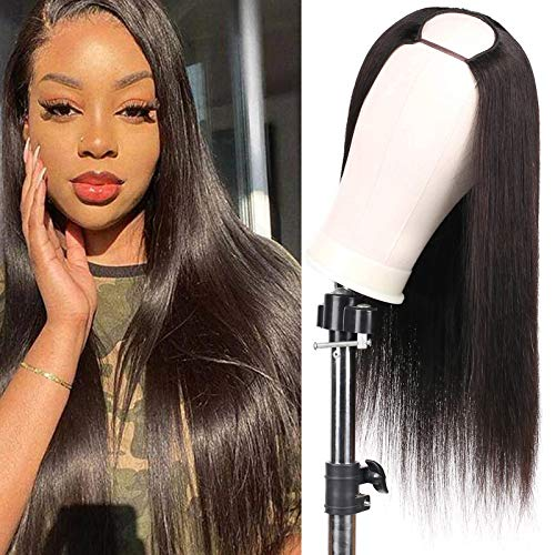 "Huarisi Straight Wigs Brazilian Virgin Hair None Lace Front Machine Made Middle Part Opening 16""U Part Human Hair Wigs Natural Colour for Black Women"