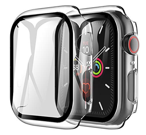 LK [2 Pack] Case for Apple Watch 6 / SE 44mm Built-in Tempered Glass Screen Protector,[Model No. TCC571] Hard PC Protector Cover for Apple Watch 6 / SE 44mm (Clear)
