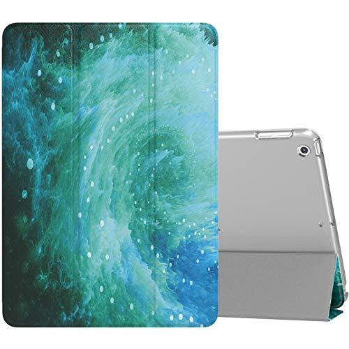 MoKo Funda Compatible con 2018/2017 iPad 9.7 6th/5th Generation, Ultra Delgado Función de Soporte Protectora Plegable Cubierta Inteligente Trasera Transparente para iPad 9.7 Inch - Swirl