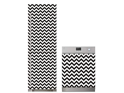 Oedim Pack Vinilo para Frigorífico + Vinilo para Lavavajillas Zigzag Blanco y Negro   60x185cm + 65x75cm   Adhesivo Resistente y Económico   Pegatina Adhesiva Decorativa de Diseño Elegante