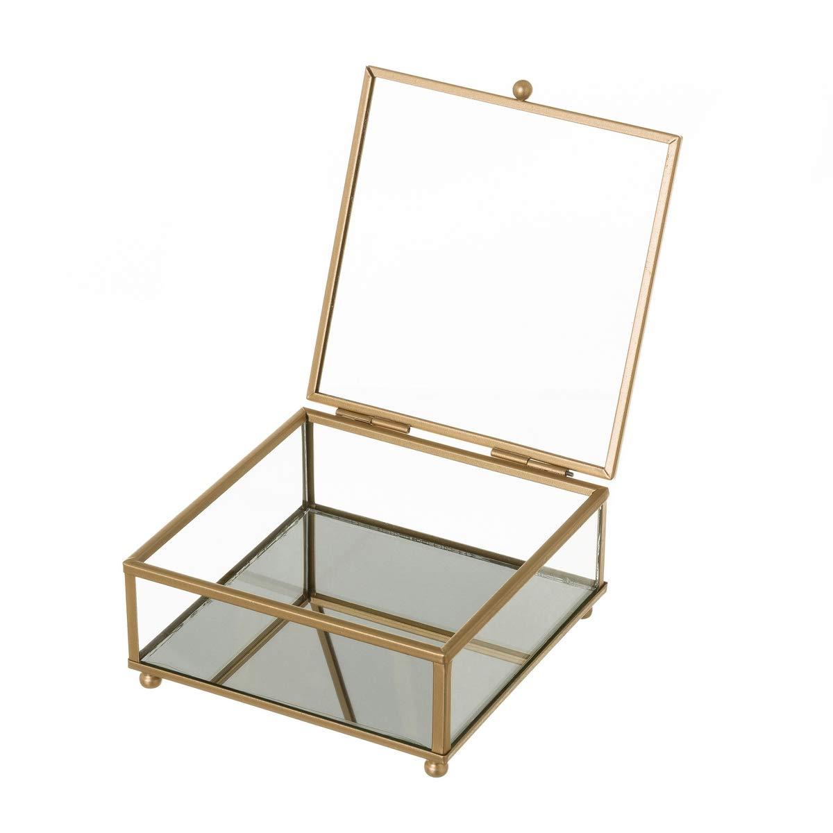 Joyero Caja de Cristal y Metal Dorada clásica, de 13x14x6 cm ...