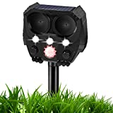 Laixwec Ultrasonic Dog Chaser, Animal Deterrent with Motion Sensor and Flashing Lights Outdoor Solar Farm Garden Yard Repellent, Dogs, Cats, Birds