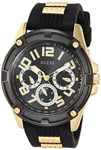 Guess GW0051G2 Herenhorloge, zwarte wijzerplaat met gestructureerde siliconen band met gouden inzetstukken