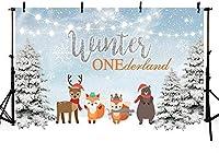 新しい250x180cm冬のワンダーランドウッドランド1歳の誕生日パーティーの写真の背景森の動物クリスマスツリースノーフレークの背景装飾ライトきらびやかな写真ブース小道具バナー用品