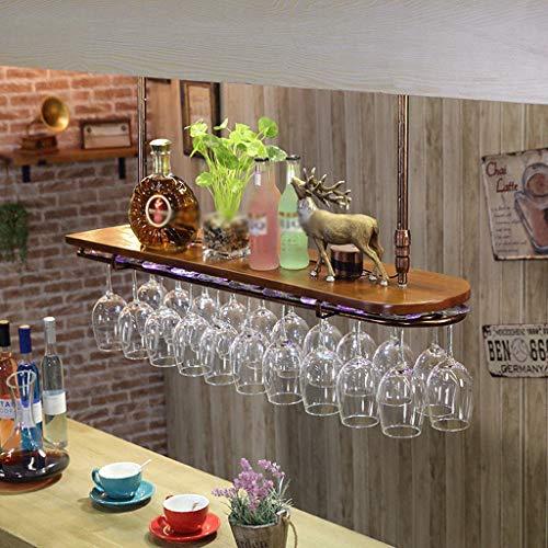 Botellero Estantería de Vino Wine Rack Soporte para Copas Vino cremallera de una pieza de madera del estante del vino de cristal con la luz de la pared montado en estante del vino del hierro Vino Bast