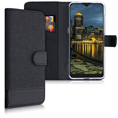 kwmobile Wallet Hülle kompatibel mit Alcatel 1S (2020) - Hülle Kunstleder mit Kartenfächern Stand in Anthrazit Schwarz