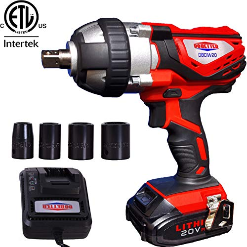 """Cordless Impact Wrench 1/2"""" Max Torque 300N.m Compact Battery Impact Wrench with 4Pcs Sockets, 1.5A Li-ion Battery and Fast Charger, Dobetter-DBCIW20"""