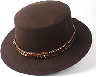 HAOHAO Men Women Stylish Flat Top Hat Dance Party Hat Fedora Hat for Gentleman Wool Trilby Fedora Hat Size 56-58CM (Color : Coffee, Size : 56-58)