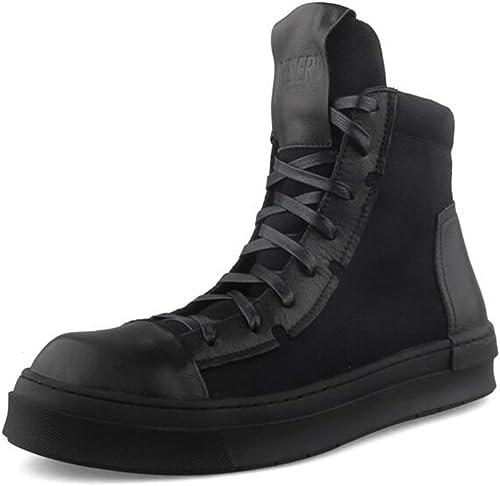 YIXINY Deporte Zapato S-752 High-top schuhe Male PU + schuhe con placa de tela Hip-hop schuhe ocasionales con tapa gruesa Weiß, schwarz ( Farbe   schwarz , Tamaño   EU41 UK7.5-8 CN42 )