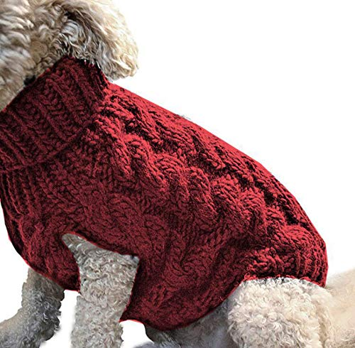 Dog Turtleneck Sweater Soft Thickening Warm Puppy Shirt Pet Knitwear Vest Clothes Cat Costume Pullover Pet Apparel Coat Jacket for Small Medium Dogs Cats (Red, L)