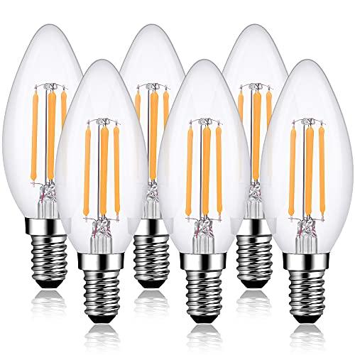Lampadine Candela E14 LED Dimmerabile Luce Calda 6 Pezzi Lampadine Led C35 Lampadina Filamento Bianco Caldo 2700K 4W 400 Lumen trasparenti per lampadario Vintage Retrò