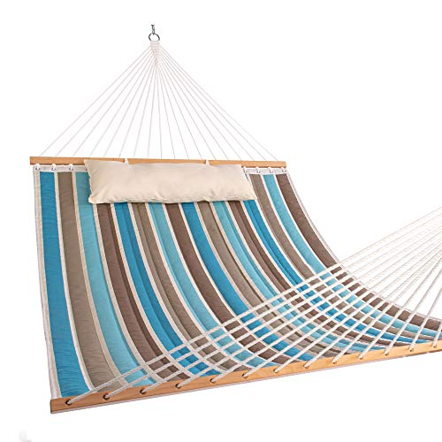 HARBOURSIDE 2 Person Hammock, Brazilian Sleeping Hamacas, Single Hammock Bed with Pillow, Spreader Bars,Chains & Hooks for Tree, Balcony, Patio - Quilted Fabric, 450lbs Capacity
