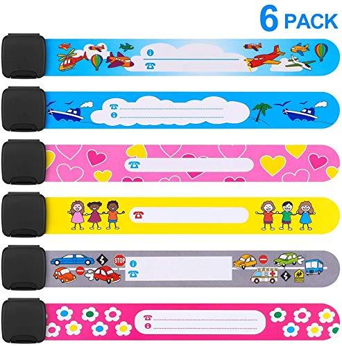 Notfall-Armband für Kinder, Mopoin 6 Stück SOS Armband Sicherheits ID Armband Wasserfest und Wiederverwendbar Sicherheitsarmband für Jungs Mädchen oder gemischt
